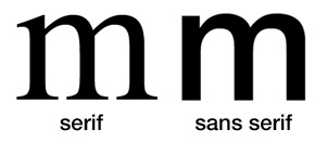 Showing difference between a serif and sans serif font.